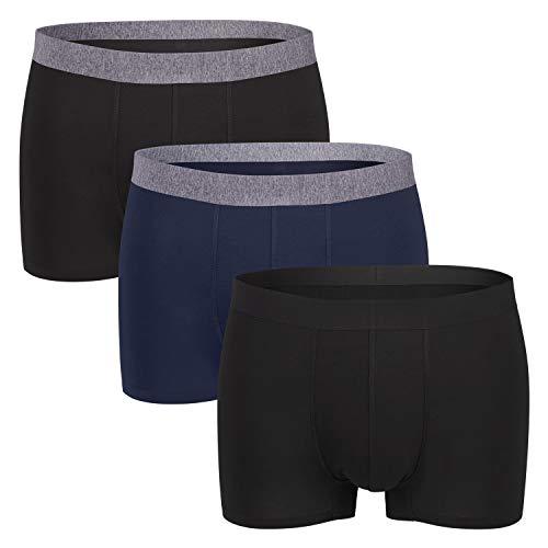 Gomati Herren Lasercut Pants (3er Pack), Seamless-Design Boxer Slip aus Viskose - Dark Mix XL