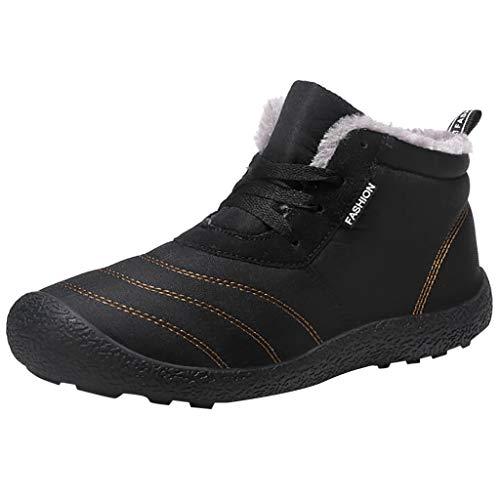 Herren Schneeschuhe Baumwollstiefel Plus Samt Schnürstiefeletten Warme Kurze Stiefel Outdoor Sportschuhe Ankle Boots Plateauschuhe Wasserdicht Schnee Stiefeletten, Schwarz, 45 EU