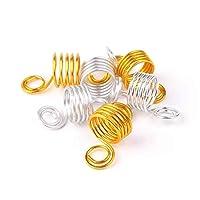 RONRONS 100ピース 編組 スパイラル リング 調節可能 ヘア編組用 カフス クリップ ピンド ヘアビーズ ヘアエクステンション、ゴールド+シルバー