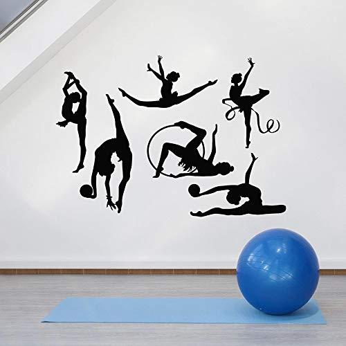 Gymnastik Wandtattoos Sportler Sportschule Tänzerin Figur Yoga Raum Innendekoration Fenster Vinyl Aufkleber Kunst Wandbild 110x155 cm