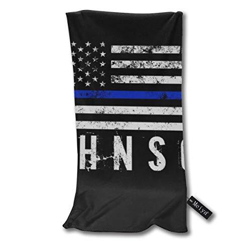 Toalla de baño pequeña superabsorbente con diseño de policía y diseño de bandera americana con nombre personalizado para baño, piscina, gimnasio y spa, 12 pulgadas x 27,5 pulgadas