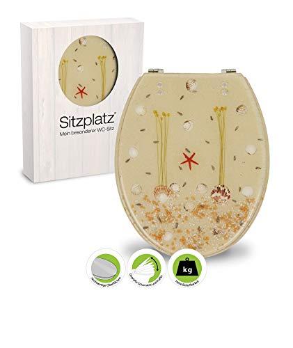 SITZPLATZ® WC-Sitz mit Maritim Dekor Strand, Polyresin Toilettensitz mit Metallscharnieren, in ovaler Standard O Form universal, Motiv WC Deckel, Komfort Klodeckel & Klobrille, 40580 5