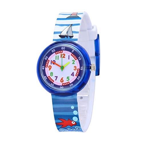 ibasenice Kinderuhren -Entzückende Cartoon-Muster Kinderuhren Nette Quarzwerk Uhren Kreative Armbanduhren für Kinder Studenten (Segelboot)