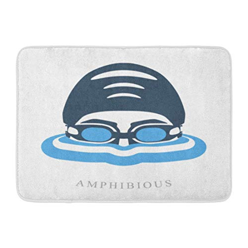 GOSMAO Felpudo de Entrada Alfombra Exterior para Puerta Impermeable Lavable AntideslizanteBlue Swim Premium Labels Cabeza de Nadador con Gafas y Gorra para Nadar en el Agua 40X60cm