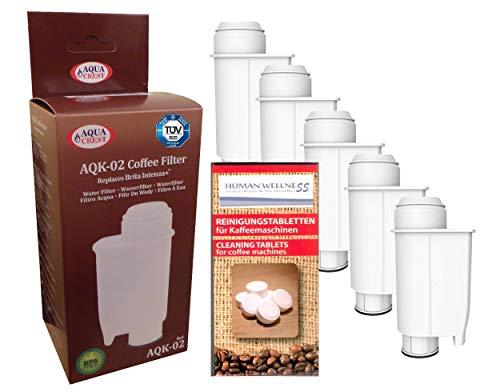 Human-Wellness 5 x waterfilter AQK-02 vervangt Brita Intenza+ Saeco CA6702/00 *kwaliteit* voor Saeco/Philips/Gaggia koffiezetapparaat - volautomatische koffiemachine + 10 reinigingsstaafjes