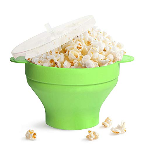 01 Ciotola per Popcorn, Contenitore per Alimenti in Silicone Pieghevole per Forno per Frigorifero per microonde(with Handle-Green)