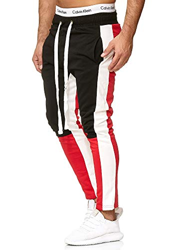 OneRedox Herren   Jogginghose   Trainingshose   Sport Fitness   Gym   Training   Slim Fit   Sweatpants Streifen   Jogging-Hose   Stripe Pants   Modell A10 (L, Rot)
