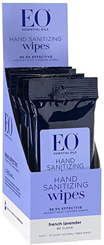 EO Sanitizing Hand Wipes, Organic Lavender, Biodegradable, Pack of 10 Wipes, 6 Count