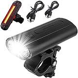Juego de Luces para Bicicleta Juego de Luces Delanteras y traseras Recargables USB para Bicicleta, IPX5 Luces para Bicicleta a Prueba de Agua Lámpara para Montar en Bicicleta Linterna LED