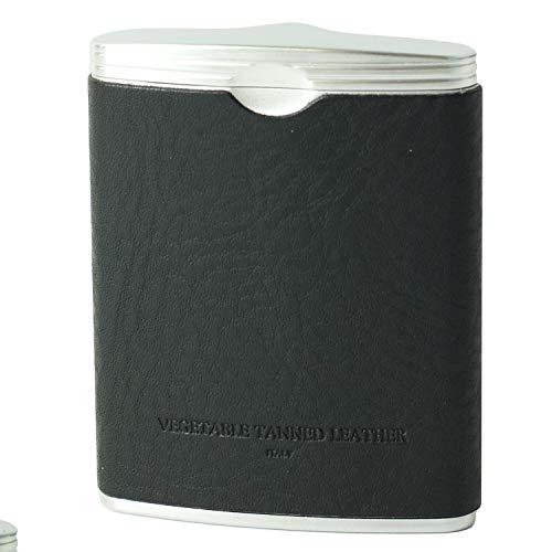 名入れ 本革 ハニカム レザー 携帯灰皿 (ブラック)