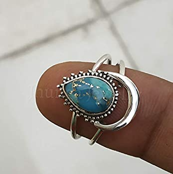 Blue Copper Turquoise ring 925 sterling silver Half Moon Shape Ring Two band Ring Boho Chic Promise Wedding Jewelry Classy Ring Celestial ring Genuine Gemstone Ring Statement Ring