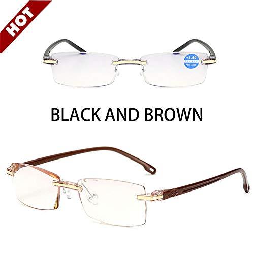 Qingxi leesbril zonder frame, 2 verpakkingen voor dames en heren, dioptrieën verstelbaar +1.0 tot +3.5