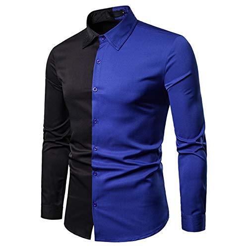 Costuras de color para hombre, diseño de manga larga con botones. azul M