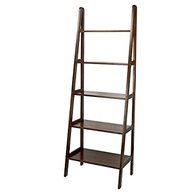 Casual Home 176-54 5-Shelf Ladder Bookcase, Warm Brown