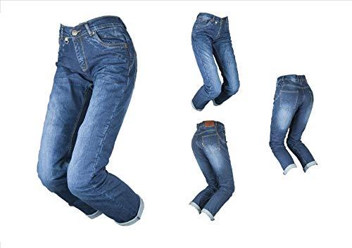 BY CITY - Pantalón Vaquero con protecciones para Moto TEJANO III LADY BLUE Pantalón de Mujer (US.30/EUR.40)