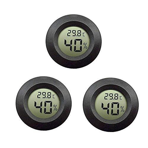 EEEKit 3-Pack Hygrometer Thermometer Digitaler LCD-Monitor Luftfeuchtigkeitsmessgerät für den Innenbereich Luftbefeuchter Luftentfeuchter Gewächshaus-Keller Babyroom, Schwarz Runde