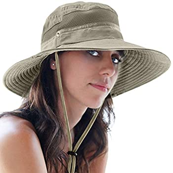 GearTOP UPF 50+ Wide Brim Sun Hat for Men and Women to Protect Against UV Sun Rays for Hiking Camping Fishing Safari  Khaki 7-7 1/2