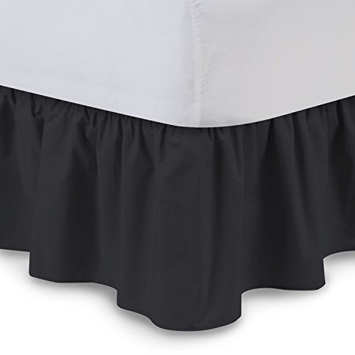 Ruffled Bedskirt (Queen, Black) 18 Inch Bed Skirt with Platform, Poly/Cotton Fabric, Available in All Bed Sizes and 16 Colors - Blissford