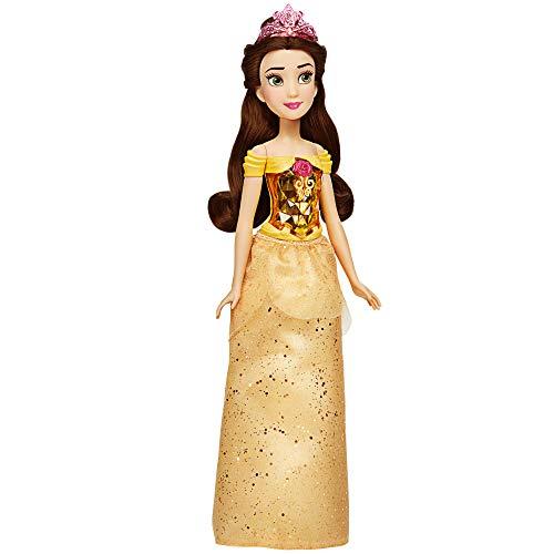Hasbro Disney Prinzessinnen F0898 Disney Prinzessin Schimmerglanz Belle Puppe, Modepuppe mit Rock und Accessoires, für Kinder ab 3 Jahren