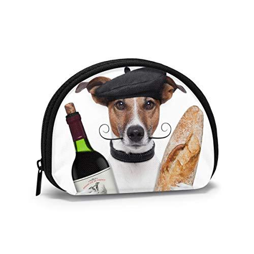 Perro francés Vino francés Baguette Boina Animal Mujeres niñas Shell cosmético Maquillaje Bolsa de Almacenamiento al Aire Libre Compras Monedero Organizador de Cartera