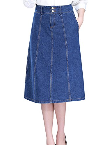 Tanming Women's High Waist Button Long Midi Denim Jean Skirt (Small, Blue)