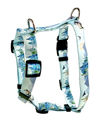 """No Pull Multi-Point Adjustable No Escape Dog Harness by Fearless Pet Front Clip Back Clip Dog Harness (Forest Watercolor, Medium 3/4"""" (18-28"""" Girth))"""