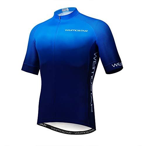 Mens Cycling Jersey Shirt,2020 Short Sleeve Bike Jersey Riding Tops Outdoor MTB Cycling Clothing Team Blue L