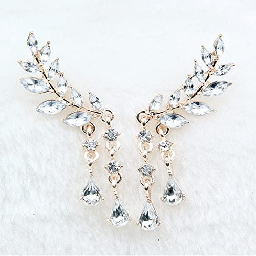 AOOF Pendientes de alas de ángel de Dama Pendientes de Cristal Zirconia cúbica con Flecos 玫瑰金
