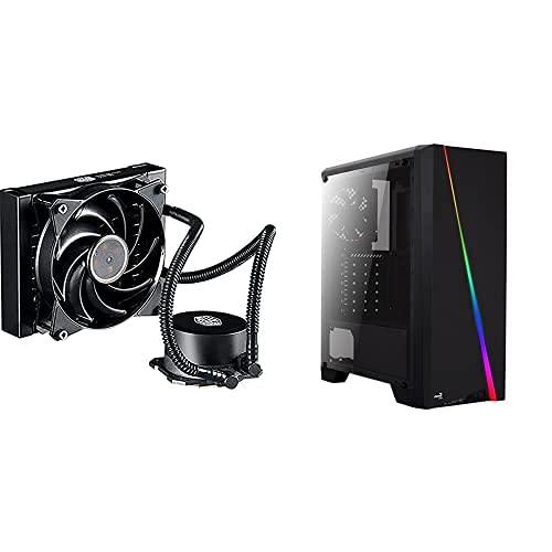 Cooler Master Liquid Lite 120, Refrigerador, 120 Mm, Negro + Aerocool CYLON, caja de PC ATX, RGB 13 modos, ventilador trasero 12cm, USB 3.0