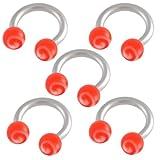5er set 1,2mm 6mm Hufeisen Edelstahl ohr tragus Stollen augenbrauenpiercing körperschmuck bar Circular Barbell Rot Lippenring BJDK
