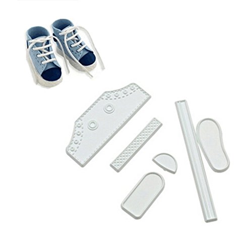 SEVENHOPE 6 Stück Plastik Ausstecher Babyschuh Ausstechform Plätzchenform Baby Sneaker Ausstecher Keksform Keksausstecher für Plätzchen Kekse Fondant