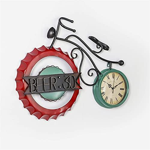 ZCZZ Reloj Decorativo con Tapa de Botella de Vino Retro, Colgante de Pared, Reloj de Bicicleta de Hierro Forjado con Colgante de decoración del hogar para niños, 61 * 67 cm, Dorado