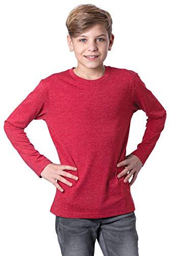 Mivaro Jungen Langarmshirt Bügelfrei mit Rundhals meliert einfarbig, Farbe:Rot, Größe:152