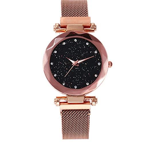 Acero Inoxidable De Lujo De Oro 1pc Mujeres De Los Relojes De Moda Hebilla Magnética Correa De Refracción Superficie Luminosa del Dial del Reloj De Señoras
