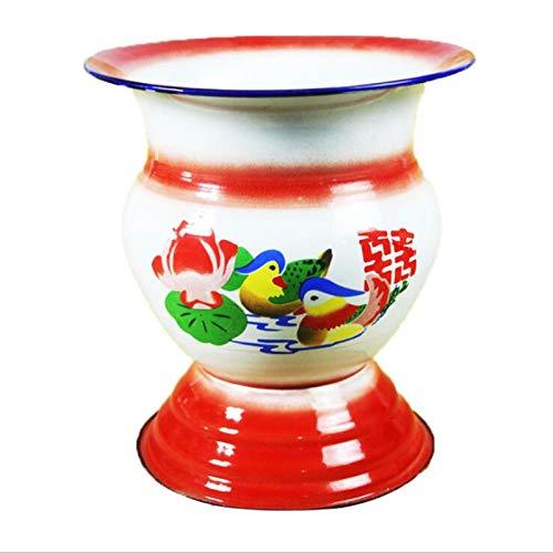 Contenedor de canasta de frutas esmaltado tradicional chino Soportes de frutas y verduras, Soporte de exhibición de estante de almacenamiento de canasta, Cubo de hielo (1 pieza)