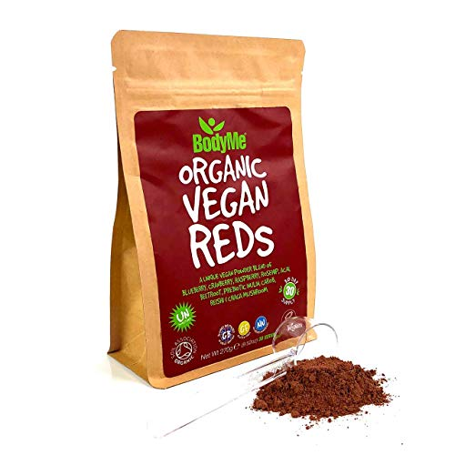 BodyMe Organic Vegan Reds Powder | 270g | Super Reds Blend | with Blueberry Cranberry Raspberry Rosehip Acai Beetroot Prebiotic Inulin Carob Chaga Mushroom Reishi Mushroom