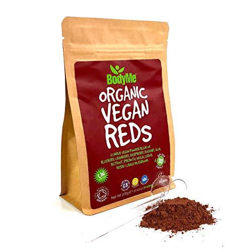 BodyMe Biologico Vegan Super Reds Polvere | 270g | Miscela Di Super Rossi | Con Mirtillo Mirtillo Rosso Lampone Rosa Canina Acai Barbabietola Inulina Prebiotica Carruba Fungo Reishi Fungo Chaga