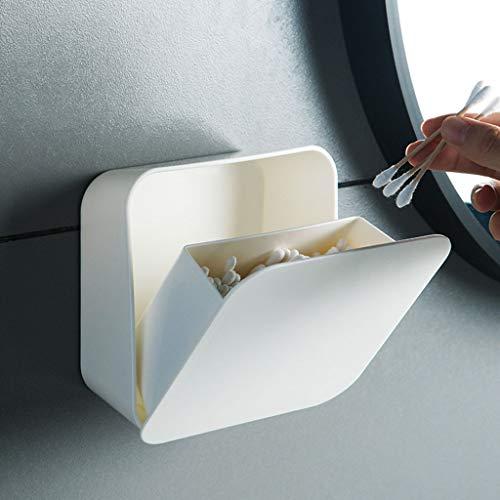 2 Pièces Coton Tige Holder Organisateur, Montage Mural Boîte Rangement Toothpick Salle Bain Support Mural Flip Imperméable Couverture Papier Coton-Tige Porte-Serviette Container