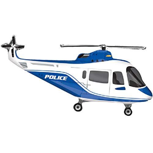 paduTec Ballon XXL Folienballon Luftballon - Polizei Hubschrauber Helikopter Police - Geburtstag Kindergeburtstag Deko - geeignet zur befüllung mit Luft oder Helium Gas