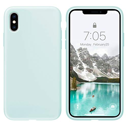 OuXul Case for iPhone X/iPhone Xs Liquid Silicone Gel Rubber Phone Case,iPhone X/iPhone Xs 5.8 Inch Full Body Slim Soft Microfiber Lining Protective CaseLight Mint
