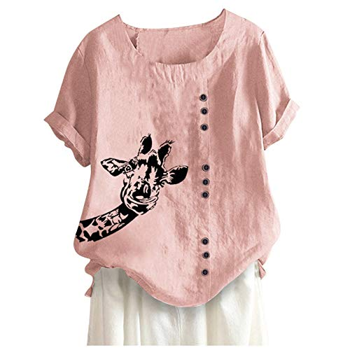 Women Summer Casual Boho Shirts Loose Button Linen Plus Size Printing Short Sleeve O-Neck Tops Blouse