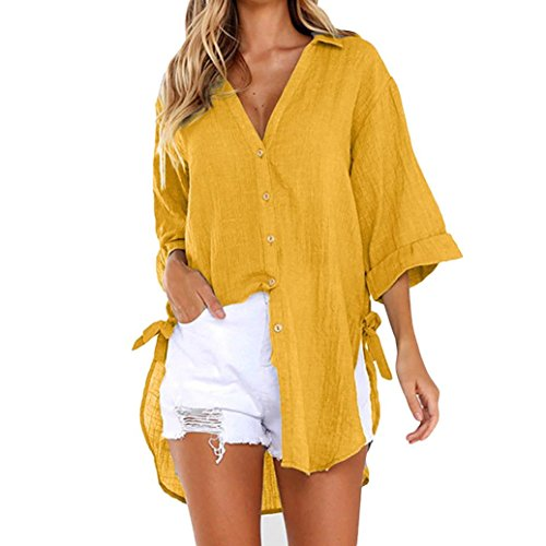 ESAILQ Damen Frauen Casual Kurzarm Stretch Falten Tunika Bluse Sommer Obteile mit Knöpfen V-Ausschnitt Ladies Shirt mit Gummizug Am Saum(L,Gelb)