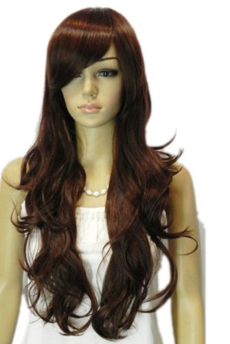 Qiyun Femme Longue Brun Big Waves Ondule Natural Looking Resistant a la Chaleur Fibre Synthetique Cheveux Complete Cosplay Anime Costume Perruque