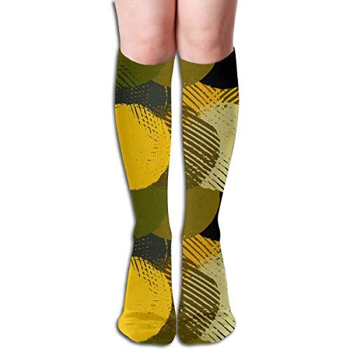 Kleur stempels 60cm knie hoge sokken dij hoog