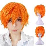 Bumen Herren Perücken Perücken Haarteile für Erwachsene Orange Kurze Cruly Herren Perücke für Anime Cosplay Kostümparty Gentleman Perücken wig Halloween Mann Men Wig Herren Haarteile