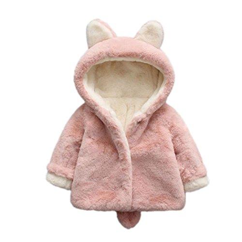 Amlaiworld Ropa Bebé, Bebé niño niña de otoño Invierno Encapuchados Abrigo Capa Chaqueta Gruesa Ropa Caliente 0-36 Mes (Tamaño:0-6Mes, Rosa)