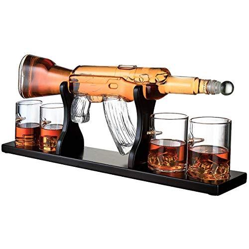 Whisiskey® Whiskey Karaffe - Gewehr - Whisky Karaffe Set - 1000 ml - Geschenk für Männer und Frauen - Inkl. 4 Whisky Gläser, 9 Whisky-Steine und Geschenktülle