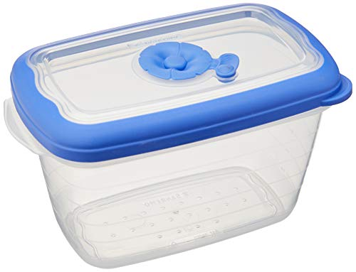 Pote Retangular Plástico 700 ml, Sanremo, Polipropileno e Elastômero TPE, Transparente/Azul