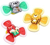 PYNIOR Suction Cup Spinning Top Toys, Cartoon Animal Suction Cup Spinner Windmill, Baby Bath Toys (3Pcs Fox Lion Koala)