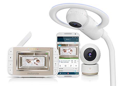Motorola Baby MBP944 Halo+ Over-the-Crib Wifi Videomonitor mit 4,3-Zoll-Handheld-Elterngerät und WLAN-Hubble-App für Smartphones und Tablets - Weiß